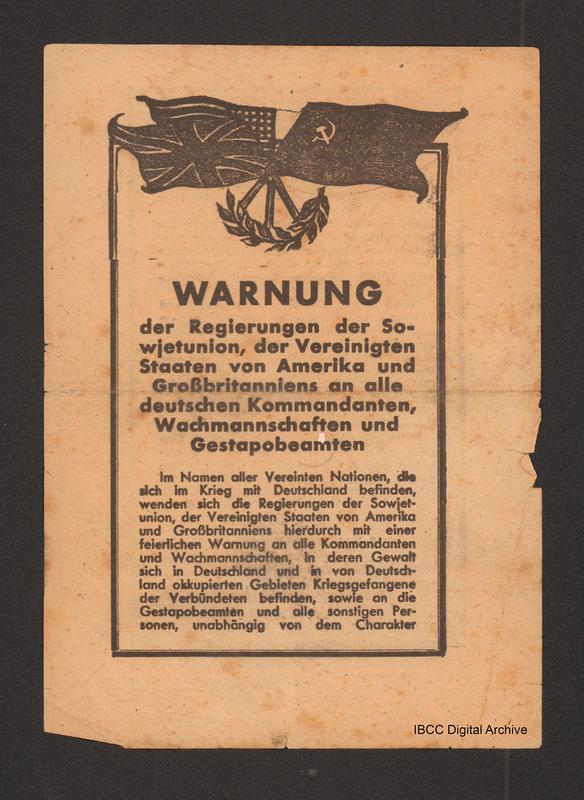 Warnung Der Regierungen Der Sowjetunion Der Vereinigten Staaten