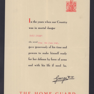 David Joseph's Home Guard Certificate