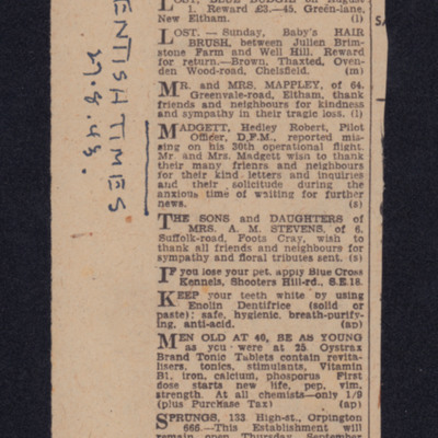 Kentish Times personal column