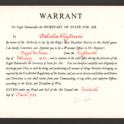 Warrant appointing Malcolm Staves Warrant Officer