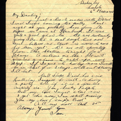 Letter from Ian Wynn to his wife