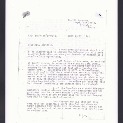 Letter to Mrs Meredith from 35 Squadron