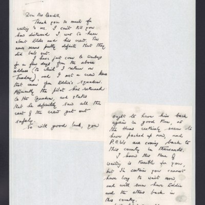 Letter to Mrs Meredith from F/Lt Jack Lane