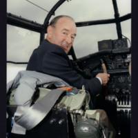 Donald Briggs in Lancaster cockpit
