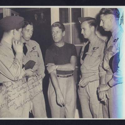 Five airmen in tropical uniform