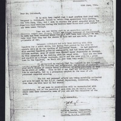 Letter to Arthur Pritchard's Father