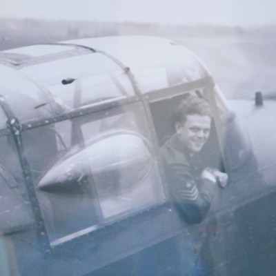 Sergeant leaning out of cockpit