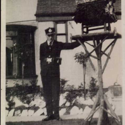 Bill Bailey in telegraph boy uniform