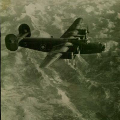 B-24 in flight over the Alps