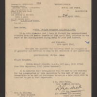 Letter to Mrs E Milling from the Royal Air Force Record Office