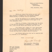 Letter to Mrs E Milling from Reginald Twamley