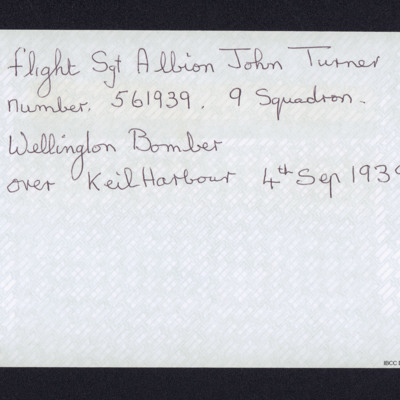 Note on John Turner killed in action