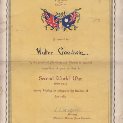 Certificate from Montrose welcome home committee