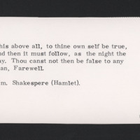 This above all, to thine own self be true