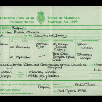 Marriage certificate of George Wilson and Irene Wright