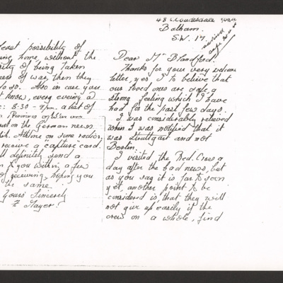 Letter from Stan Mayer's father to Mr Blandford