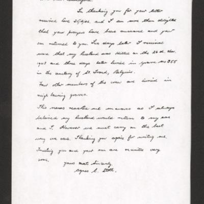 Letter from Robert Stott's wife, Agnes to Mr Blandford