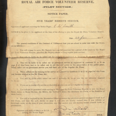 Ernest Smith's Volunteer Reserve notice paper