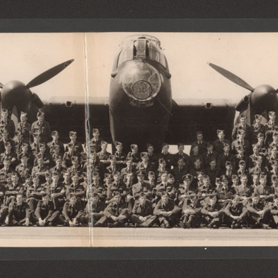 Squadron aircrew in front of Lancaster