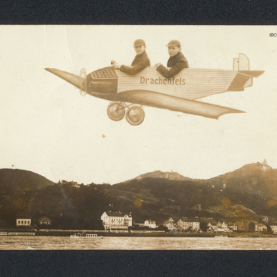 Two boys in drawn aircraft