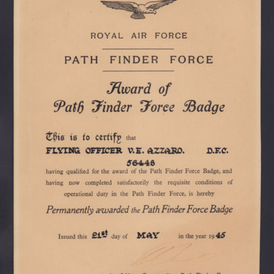 Award of Path Finder Force Badge