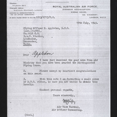 Letter to Noel Appleton from Royal Australian Air Force