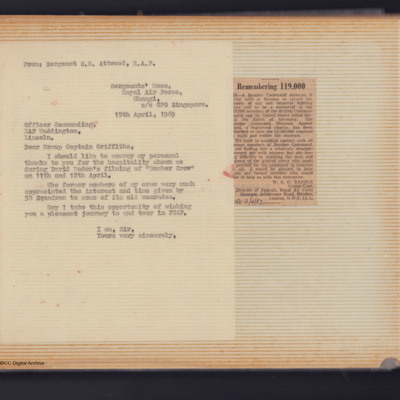 Letter from Sergeant S G Attwood to the Commanding Officer, RAF Waddington