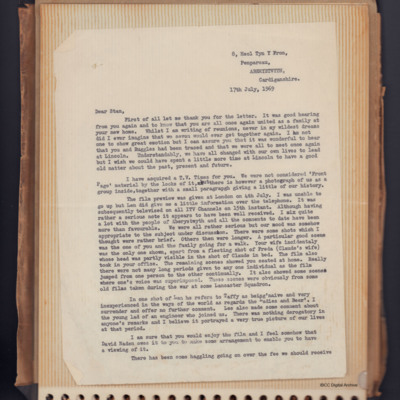 Letter to Stan Attwood from Irlwyn Evans
