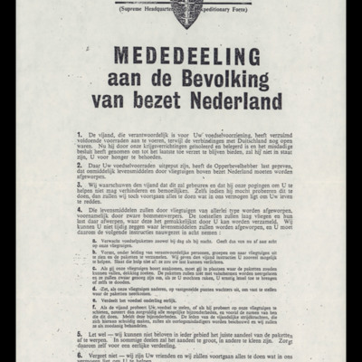 Propaganda leaflet dropped prior to Operation Manna
