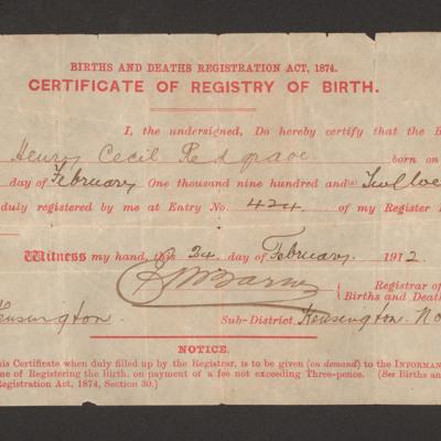 Harry Redgrave's Birth Certificate