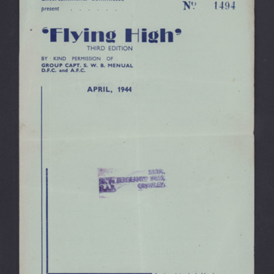 Programme for 'Flying High' revue, third edition.