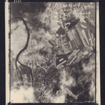 Reconnaissance photograph, post bombing, Cham, Germany