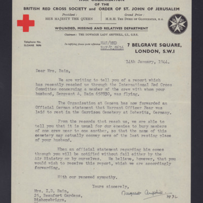 To Isabel Bain from the British Red Cross Society
