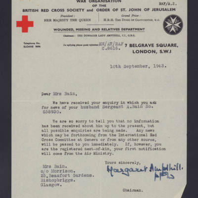 To Isabel Bain from British Red Cross Society