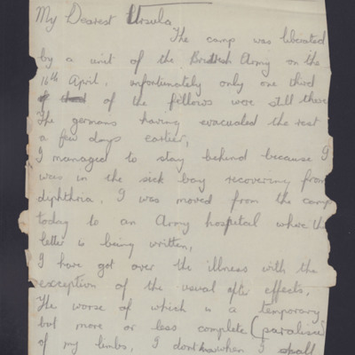 Letter from John Valentine to his wife Ursula