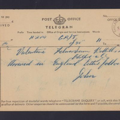 Telegram from John Valentine