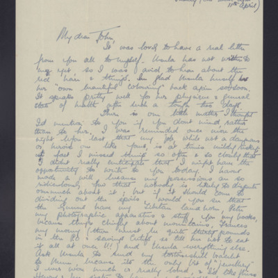 Letter to John Valentine from Barbara Griffin