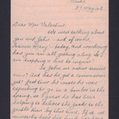 Letter to Ursula Valentine from E J Evans