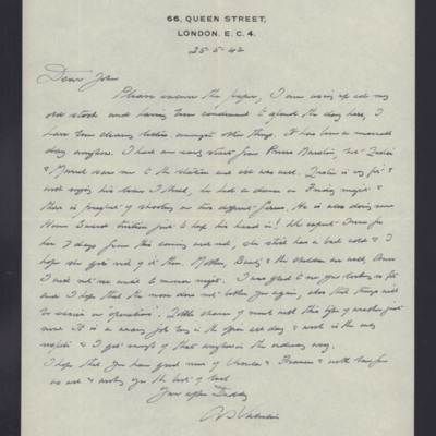 Letter to John Valentine from A S Valentine