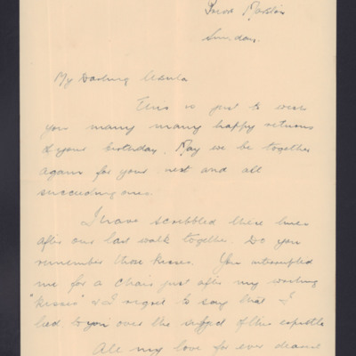 Letter to Ursula Valentine from husband John