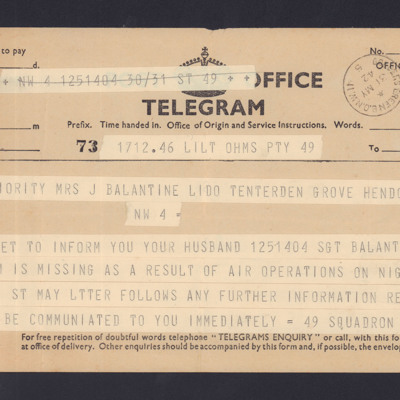 Telegram to Ursula Valentine