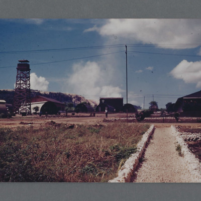 Tinian  airfield buildings and watch tower
