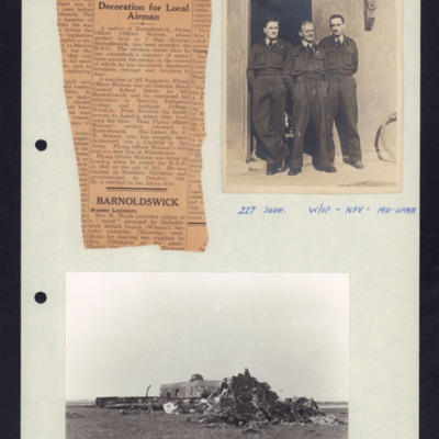 Decoration for Local Airman, Three Airmen and a wrecked Lancaster