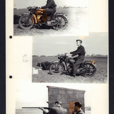 Airmen on a motorbike and an airman aiming a shotgun