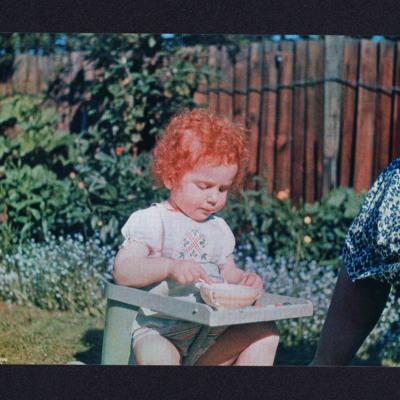 Frances Valentine in a garden