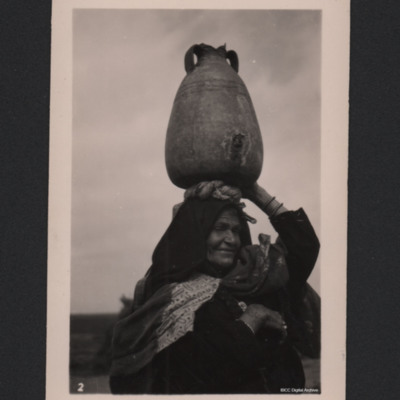 Arab woman carrying water, Jaffa