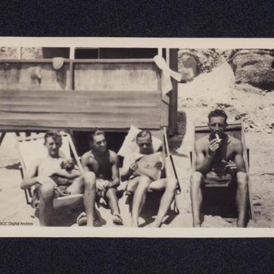 Four airmen relaxing