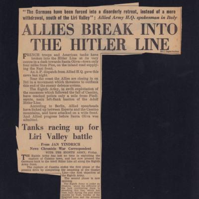 Allies break into the Hitler line
