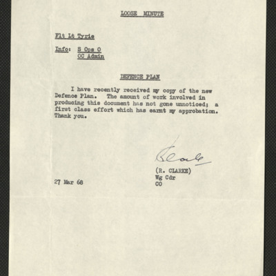 Letter to Jim Tyrie from Wing Commander R Clarke