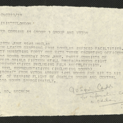 Telegram to Squadron Leader Oxspring from Air Ministry